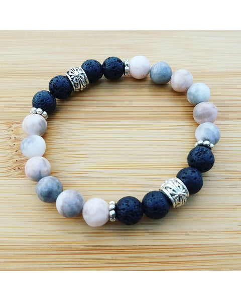 Pink & Gray Mixed Color Zebra Jasper Gemstone and Lava 8mm Bead Essential Oil Aromatherapy Diffuser Stretch Bracelet P059 - Essentially Elegant