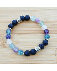 Fluorite Semi-Precious Gemstone and Lava Rock 8mm Bead Essential Oil Aromatherapy Diffuser Stretch Bracelet P060 - Essentially Elegant