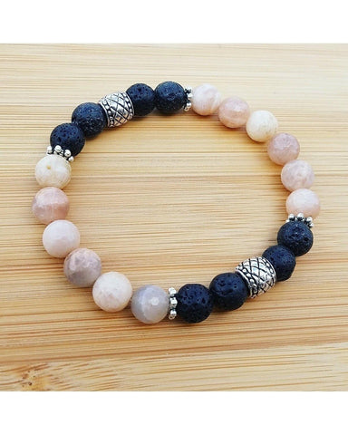 Natural Faceted Sunstone Gemstone and Lava Rock 8mm Bead Essential Oil Aromatherapy Diffuser Stretch Bracelet P062 - Essentially Elegant