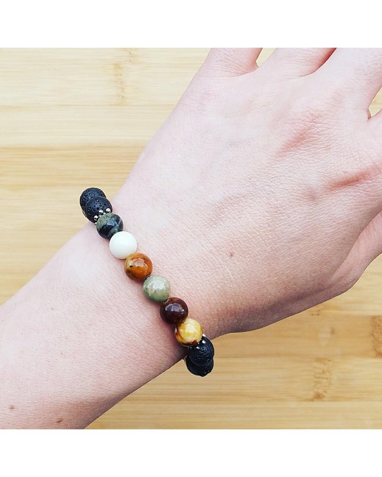 Jade Mixed Color Semi-Precious Gemstone and Lava Rock 8mm Bead Essential Oil Aromatherapy Diffuser Stretch Bracelet P065 - Essentially Elegant