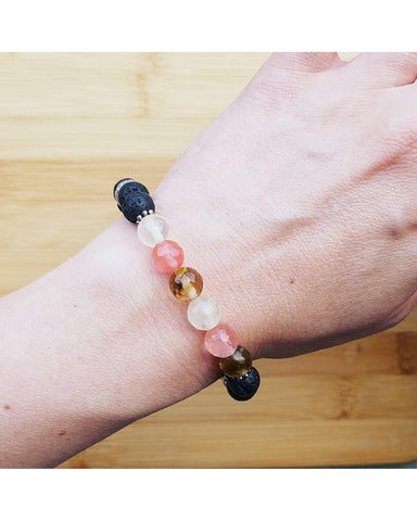Faceted Watermelon Quartz Mixed Color Gemstone & Lava 8mm Bead Essential Oil Aromatherapy Diffuser Stretch Bracelet P066 - Essentially Elegant