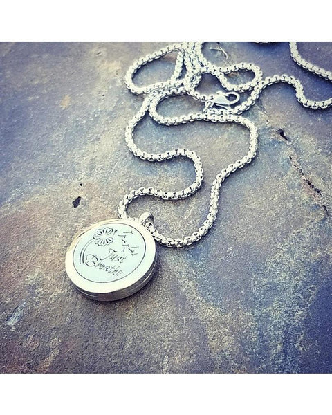EE Exclusive **Just Breathe** 25mm Silver 316L Stainless Steel Essential Oil Aromatherapy Diffuser Locket Necklace S008 - Essentially Elegant