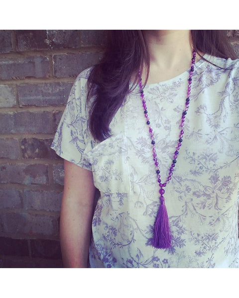 Boho~Tassel~Mala~Yoga Style Essential Oil Diffuser Necklace: Purple Agate Semi-Precious Gemstone & Lava Rock Bead L067 - Essentially Elegant