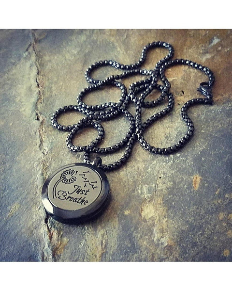 EE Exclusive **Just Breathe** 25mm 316L Stainless Steel with Black Overlay Essential Oil Diffuser Locket Necklace S011 - Essentially Elegant