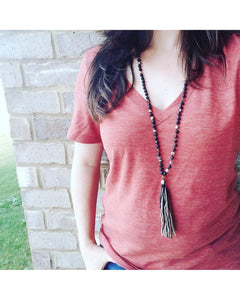 Matte Agate and Matte Onyx Semi-Precious Gemstone & Lava Rock Boho~Tassel~Mala Style Essential Oil Diffuser Necklace L069 - Essentially Elegant