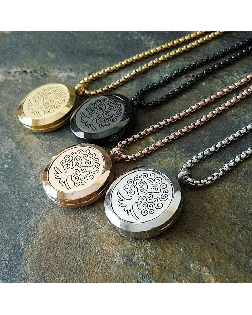 EE Exclusive **Tree of Life** 25mm 316L Stainless Steel Four (4) Piece Set Essential Oil Diffuser Locket Necklaces S018 - Essentially Elegant