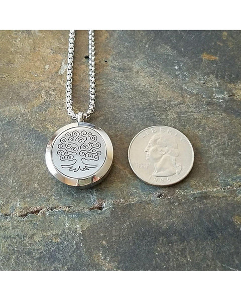 EE Exclusive **Tree of Life** 25mm Silver 316L Stainless Steel Essential Oil Aromatherapy Diffuser Locket Necklace S014 - Essentially Elegant