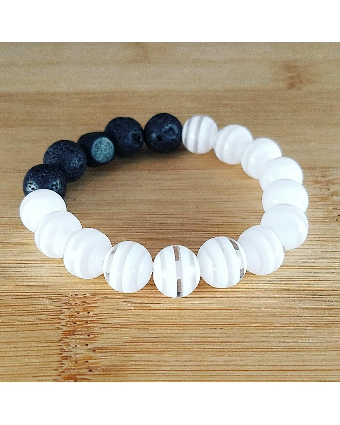 Girls/Kids/Boys White Striped and Lava Rock 10mm Bead Essential Oil Aromatherapy Diffuser Stretch Bracelet K056 - Essentially Elegant