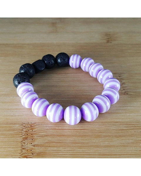 Girls/Kids/Boys Purple and White Striped and Lava Rock 10mm Bead Essential Oil Aromatherapy Diffuser Stretch Bracelet K036 - Essentially Elegant