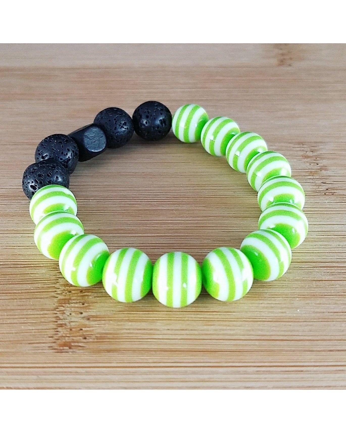 Girls/Kids/Boys Lime Green and White Striped and Lava Rock 10mm Bead Essential Oil Aromatherapy Diffuser Stretch Bracelet K035 - Essentially Elegant