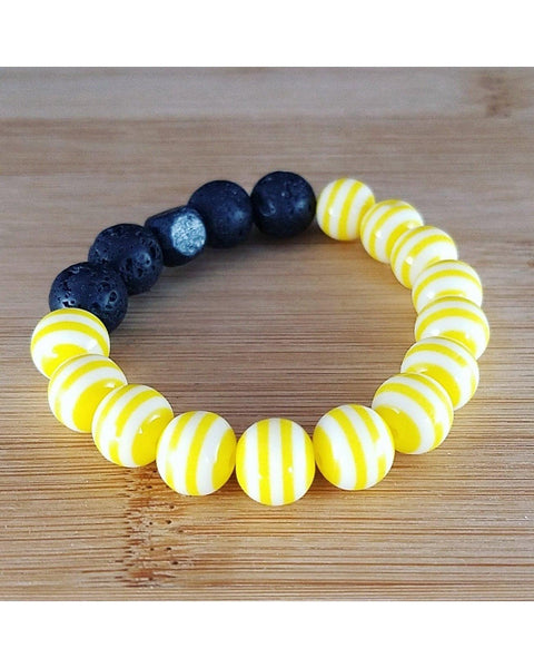 Girls/Kids/Boys Lemon Yellow and White Striped and Lava Rock 10mm Bead Essential Oil Aromatherapy Diffuser Stretch Bracelet K058 - Essentially Elegant