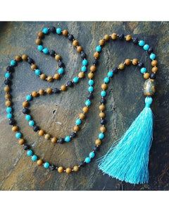 Boho~Tassel~Mala Style Essential Oil Diffuser Necklace: Jasper and Turquoise Semi-Precious Gemstone & Lava Rock Bead L064 - Essentially Elegant