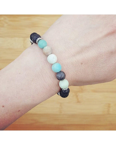 Frosted Amazonite Semi-Precious Gemstone and Lava Rock 8mm Bead Essential Oil Aromatherapy Diffuser Stretch Bracelet P061 - Essentially Elegant
