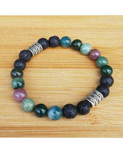 Indian Agate Mixed Color Semi-Precious Gemstone and Lava Rock 8mm Bead Essential Oil Diffuser Stretch Bracelet P063 - Essentially Elegant