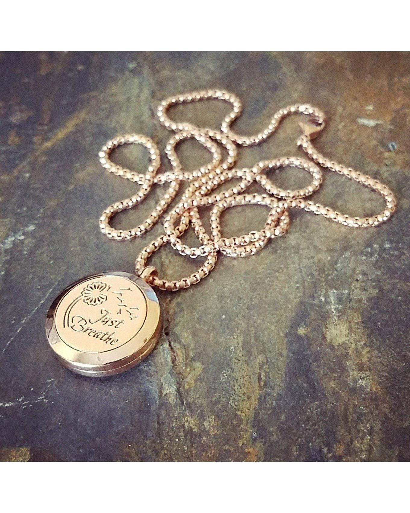 EE Exclusive **Just Breathe** 25mm 316L Stainless Steel with Rose Gold Overlay Essential Oil Diffuser Locket Necklace S009 - Essentially Elegant