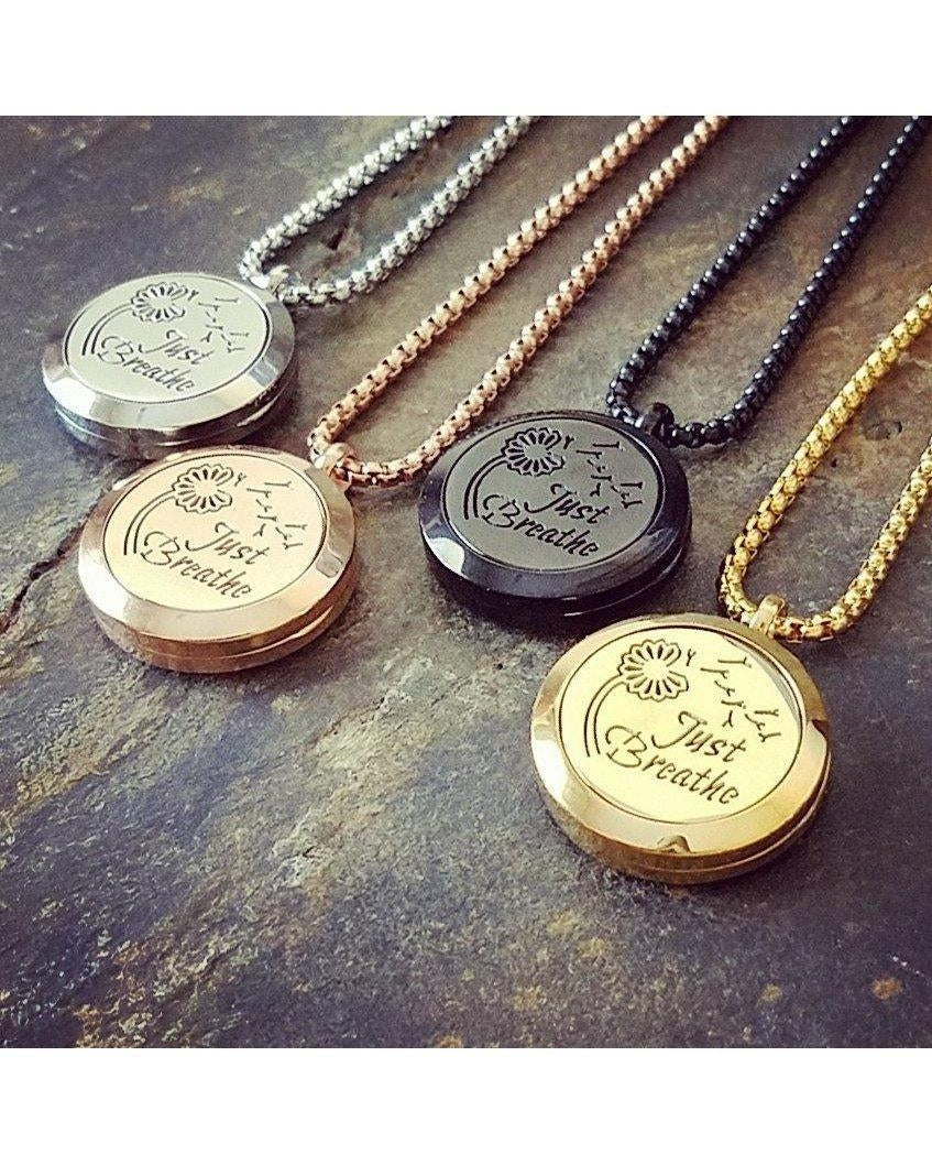 EE Exclusive **Just Breathe** 25mm 316L Stainless Steel Four (4) Piece Set Essential Oil Diffuser Locket Necklaces S012 - Essentially Elegant