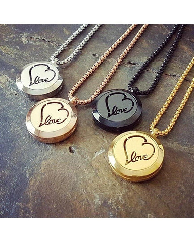 EE Exclusive  **Love** 25mm 316L Stainless Steel Four (4) Piece Set Essential Oil Diffuser Locket Necklaces S013 - Essentially Elegant