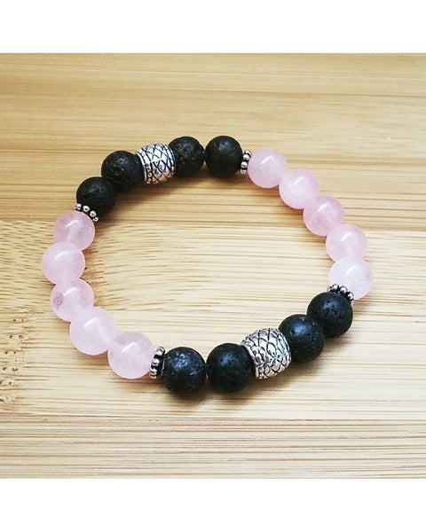 Rose Quartz Semi-Precious Gemstone and Lava Rock 8mm Bead Essential Oil Aromatherapy Diffuser Stretch Bracelet P014 - Essentially Elegant