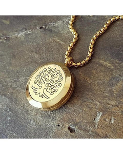 EE Exclusive **Tree of Life** 25mm 316L Stainless Steel with Gold Overlay Essential Oil Diffuser Locket Necklace S016 - Essentially Elegant