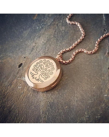 EE Exclusive **Tree of Life** 25mm 316L Stainless Steel with Rose Gold Overlay Essential Oil Diffuser Locket Necklace S015 - Essentially Elegant