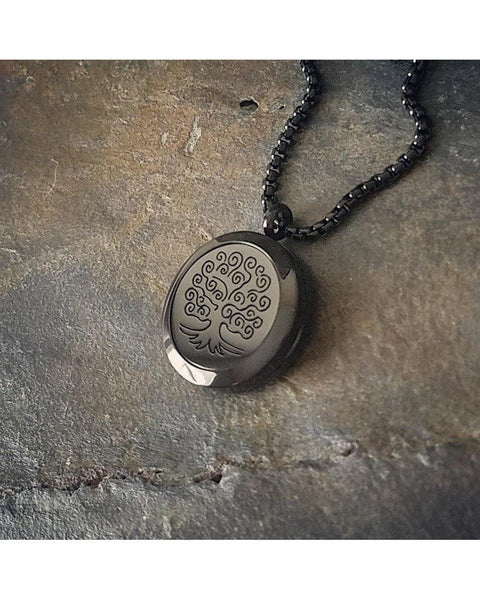 EE Exclusive **Tree of Life** 25mm 316L Stainless Steel with Black Overlay Essential Oil Diffuser Locket Necklace S017 - Essentially Elegant