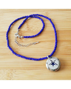 Kids Mini Diffuser EE Exclusive *SUPERSTAR* 20mm 316L Stainless Steel Essential Oil Diffuser Magnetic Locket Dark Blue Beaded Necklace K062 - Essentially Elegant