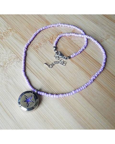 Kids Mini Diffuser EE Exclusive *SUPERSTAR* 20mm 316L Stainless Steel Essential Oil Diffuser Magnetic Locket Light Purple Bead Necklace K064 - Essentially Elegant