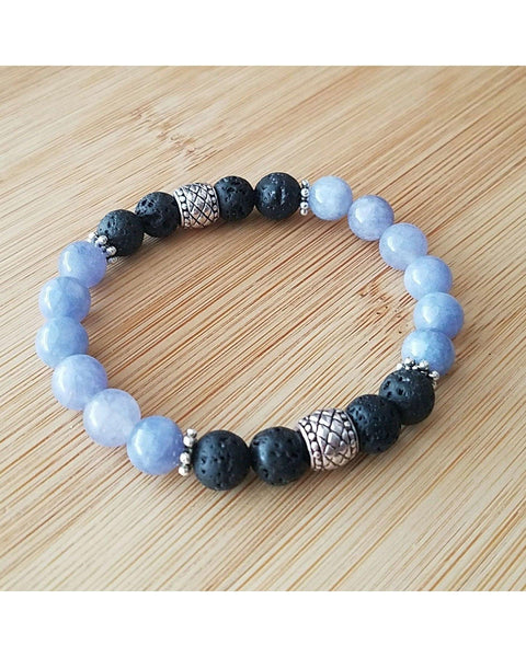 Angelite Semi-Precious Gemstone and Lava Rock 8mm Bead Essential Oil Aromatherapy Diffuser Stretch Bracelet P067 - Essentially Elegant