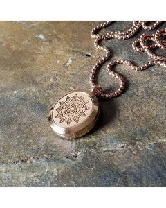 EE Exclusive **Mandala** 25mm Rose Gold and 316L Stainless Steel Essential Oil Aromatherapy Diffuser Sacred Geometry Pendant Necklace S020 - Essentially Elegant