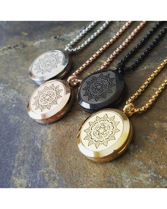 EE Exclusive  **Mandala** 25mm 316L Stainless Steel Four (4) Piece Set Essential Oil Diffuser Locket Sacred Geometry Pendant Necklaces S023 - Essentially Elegant