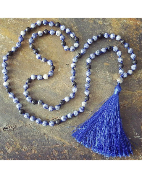 Boho~Tassel~Mala~Yoga Style Essential Oil Diffuser Necklace: Sodalite Semi-Precious Gemstone & Lava Rock Bead L075 - Essentially Elegant