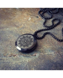 EE Exclusive **Mandala** 25mm Black and 316L Stainless Steel Essential Oil Aromatherapy Diffuser Sacred Geometry Pendant Necklace S021 - Essentially Elegant