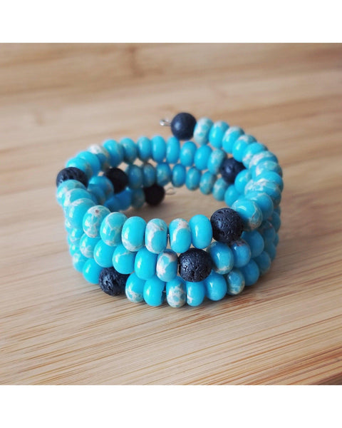Jasper Rondelle Gemstone and Lava Rock Essential Oil Aromatherapy Diffuser Wrap Style Bracelet P019 - Essentially Elegant