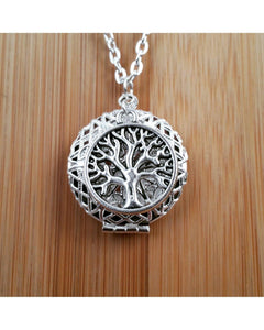 Tree of Life Inspired Round Sunburst Locket Essential Oil Aromatherapy Diffuser Necklace: Choose Shiny Silver or Platinum/Matte Silver C001 - Essentially Elegant