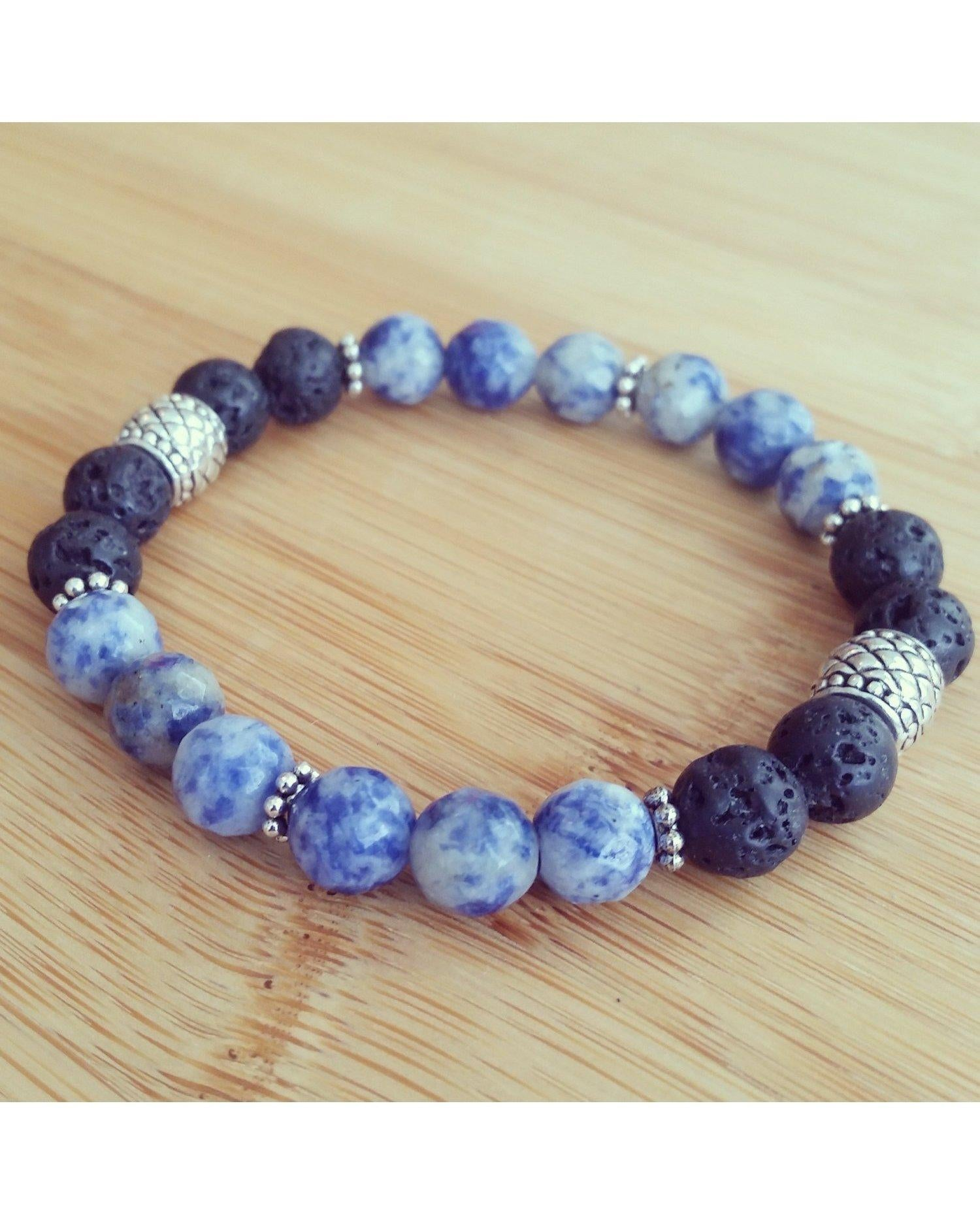 "Sodalite Faceted Blue/White Semi-Precious Gemstone and Lava Rock 8mm Bead 7"" Essential Oil Diffuser Stretch Bracelet P018 - Essentially Elegant"