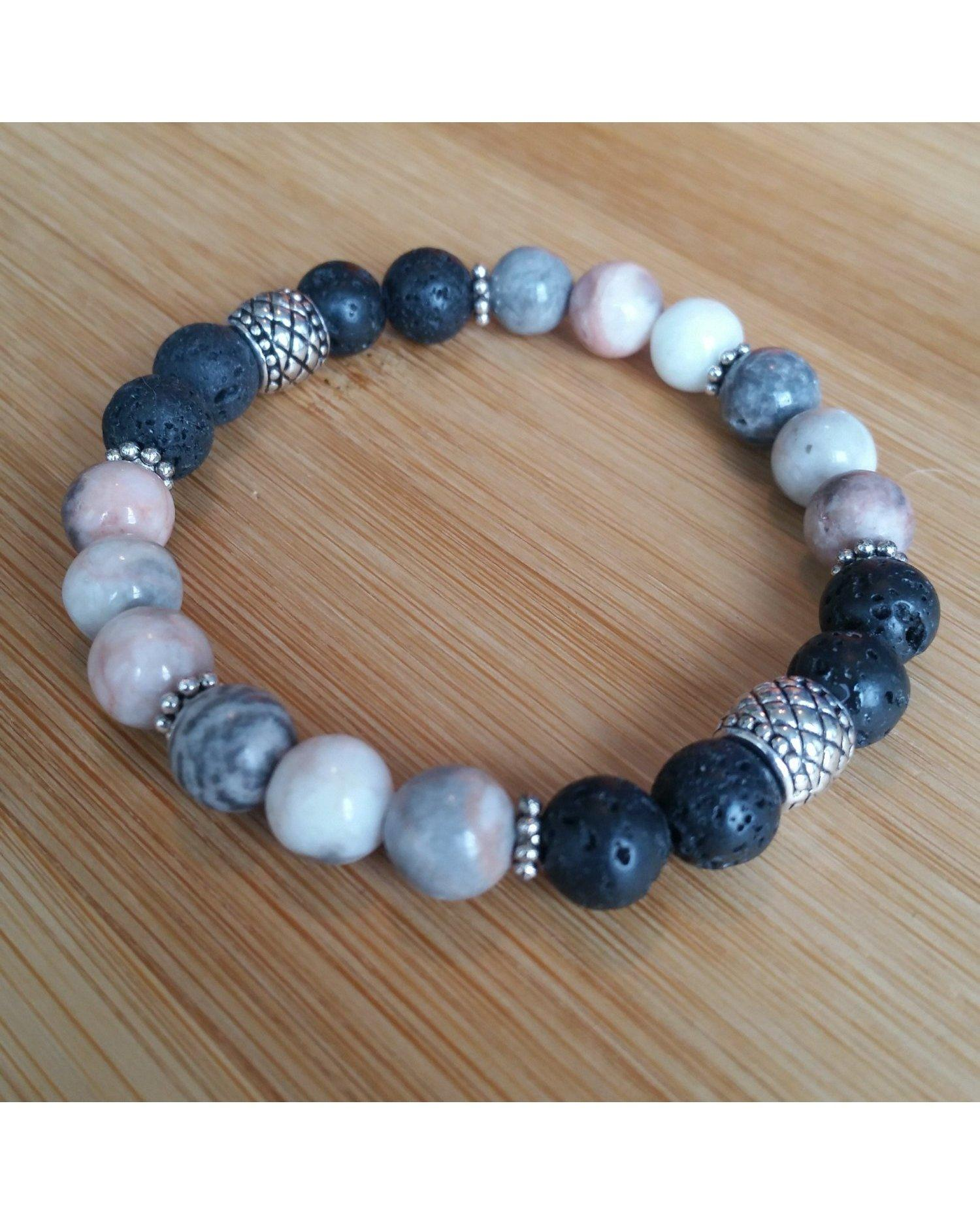 "Pink and Gray Mixed Color Zebra Jasper & Lava Rock 8mm Bead 7"" Size Essential Oil Diffuser Stretch Bracelet P053 - Essentially Elegant"