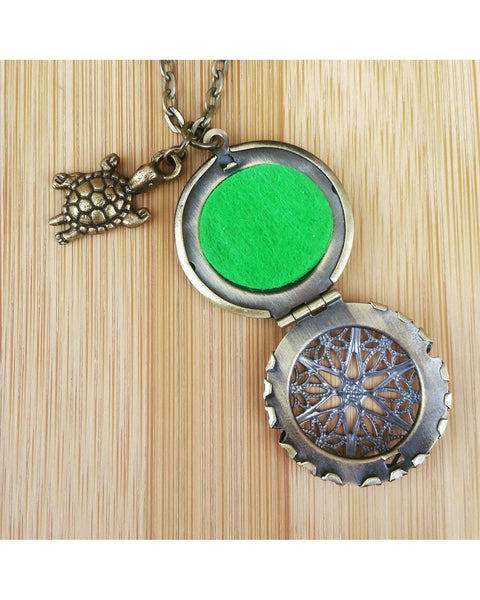 Turtle Inspired Essential Oil Aromatherapy Diffuser Necklace: Choose Antique Bronze, Shiny Silver, or Platinum/Matte Silver Color C015 - Essentially Elegant