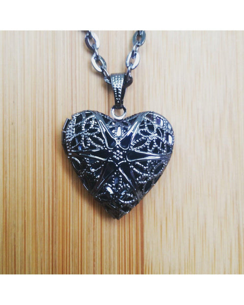 Gunmetal Black Color Sunburst Heart Locket Pendant Essential Oil Aromatherapy Diffuser Necklace A061 - Essentially Elegant