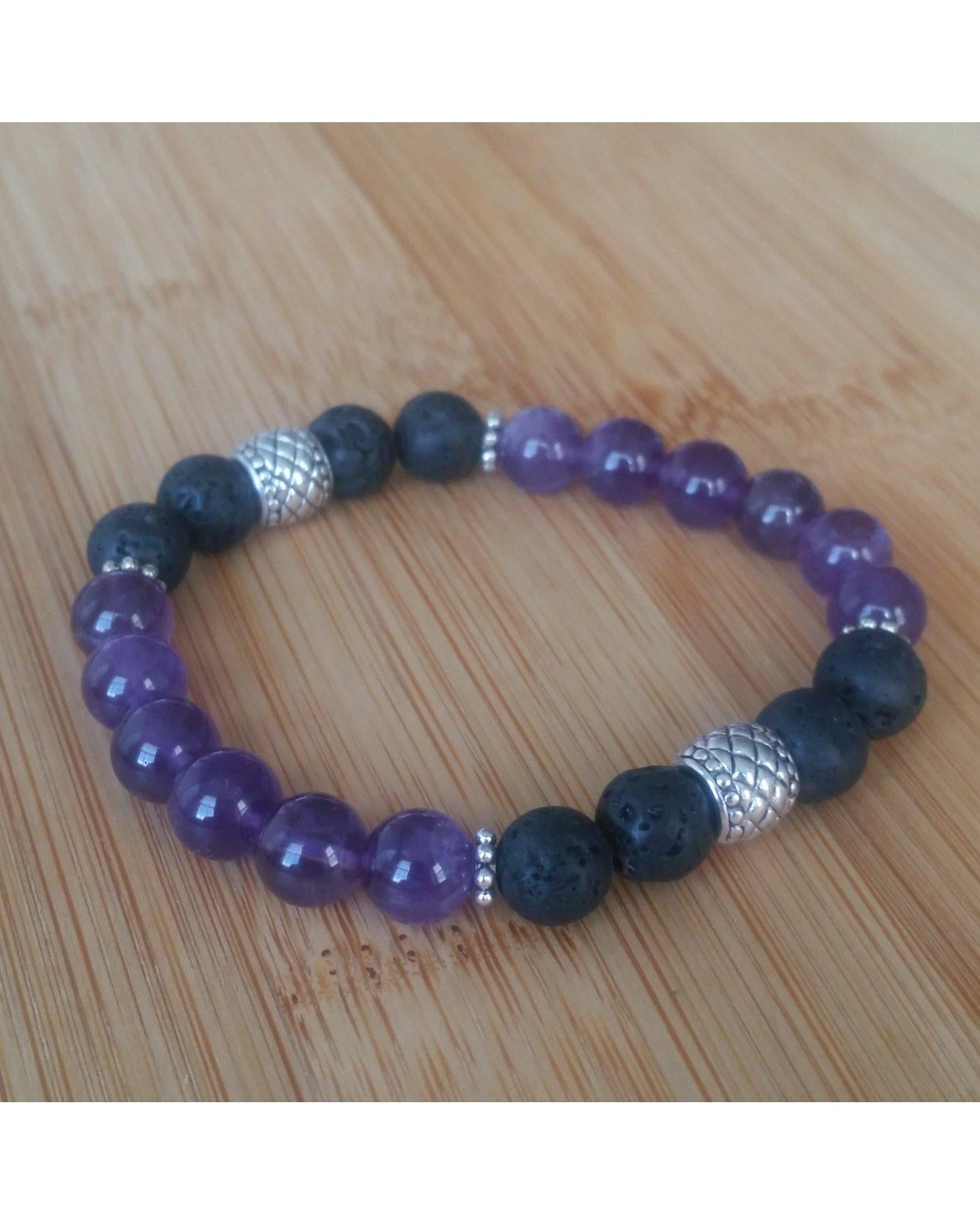 Purple Amethyst Semi-Precious Gemstone and Lava Rock 8mm Bead Essential Oil Aromatherapy Diffuser Stretch Bracelet P003 - Essentially Elegant