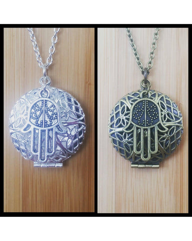 Hamsa Symbol of Protection Inspired Essential Oil Diffuser Necklace:Choose Antique Bronze, Shiny Silver, or Platinum/Matte Silver Color C017 - Essentially Elegant