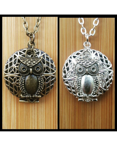 Owl Inspired Round Locket Essential Oil Diffuser Necklace: Choose Antique Bronze, Shiny Silver, or Platinum/Matte Silver Color C003 - Essentially Elegant