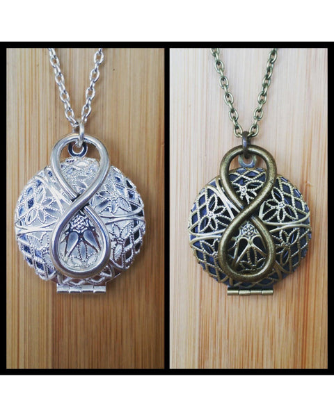 Infinity Inspired Round Locket Essential Oil Diffuser Necklace: Choose Antique Bronze, Shiny Silver, or Platinum Silver Color C002 - Essentially Elegant
