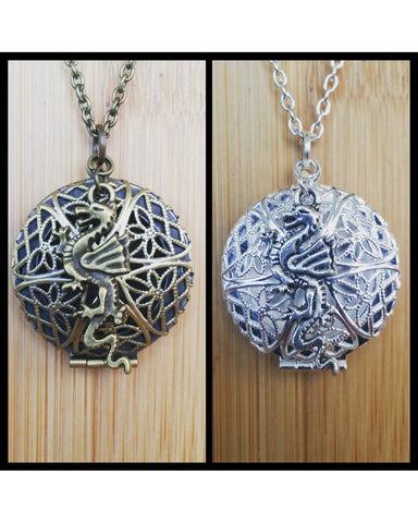 Dragon Inspired Essential Oil Aromatherapy Diffuser Necklace: Choose Antique Bronze, Shiny Silver, or Platinum/Matte Silver Color C023 - Essentially Elegant