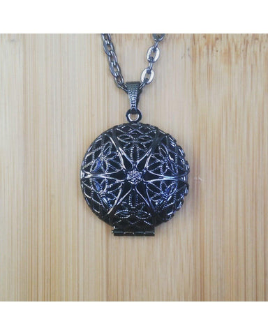 Men's/Boy's Gunmetal Black Round Locket Pendant Essential Oil Aromatherapy Diffuser Necklace J014 - Essentially Elegant