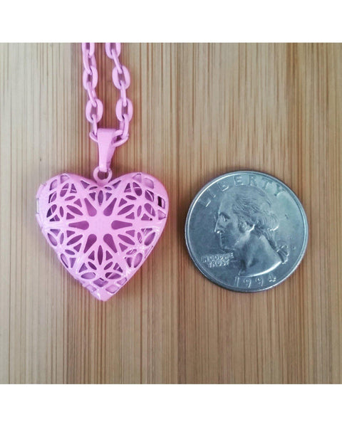 Girls/Kids Pretty in Pink Color Sunburst Heart Hand Painted Locket Pendant Essential Oil Aromatherapy Diffuser Necklace K022 - Essentially Elegant