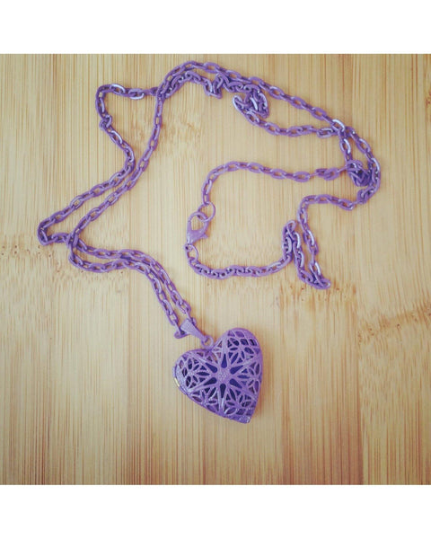 Girls/Kids Perfectly Purple Color Sunburst Heart Hand Painted Locket Pendant Essential Oil Aromatherapy Diffuser Necklace K021 - Essentially Elegant