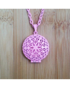 Kids/Girls/Boys Pretty in Pink Color Sunburst Round Hand Painted Locket Pendant Essential Oil Aromatherapy Diffuser Necklace K018 - Essentially Elegant