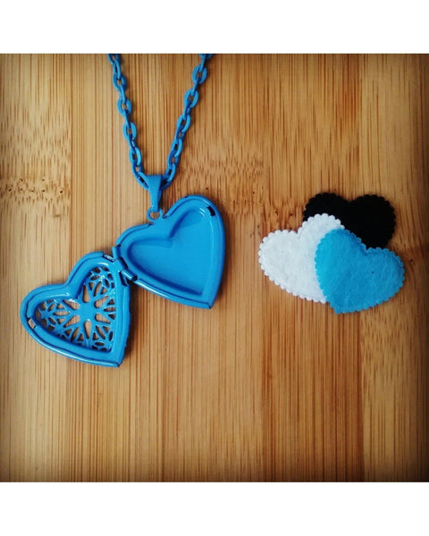 Girls/Kids Sky Blue Color Sunburst Heart Hand Painted Locket Pendant Essential Oil Aromatherapy Diffuser Necklace K025 - Essentially Elegant