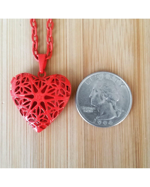 Girls/Kids Blazing Red Color Sunburst Heart Hand Painted Locket Pendant Essential Oil Aromatherapy Diffuser Necklace K010 - Essentially Elegant