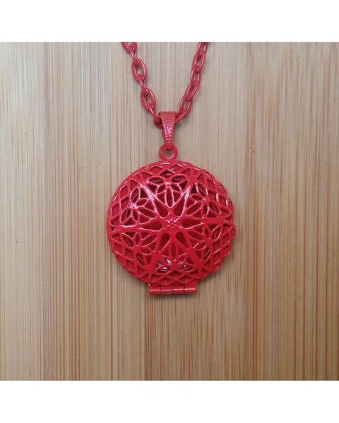 Kids/Girls/Boys Blazing Red Color Sunburst Round Hand Painted Locket Pendant Essential Oil Aromatherapy Diffuser Necklace K015 - Essentially Elegant